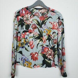 Zara long sleeve blouse, tropical floral, XS